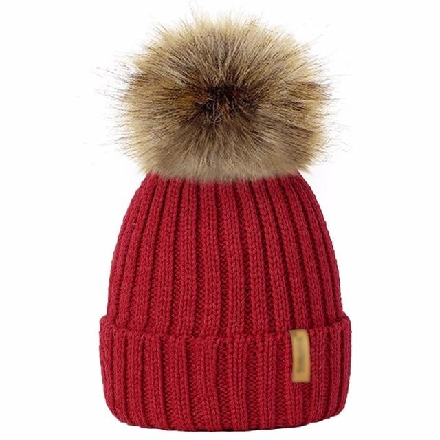 d13395bf000 9 Colors Parents Kids Knitted Beanie Hat Winter Warm Faux Fur Pom Pom Women  Men Caps