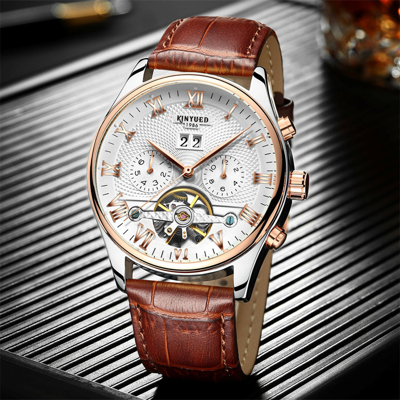 KINYUED Genuine Top Brand Mens Skeleton Tourbillon Automatic Mechanical Watch Luxury Business Leather Band Auto Date Wristwatch top brand sewor men tourbillon automatic wristwatch auto date leather strap skeleton rome dial male gift dress mechanical watch
