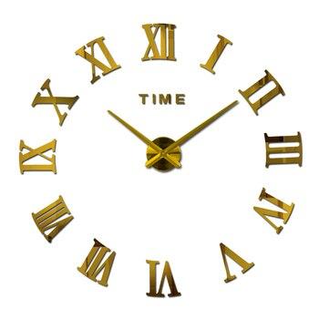 large acrylic mirror wall clock diy quartz watch Single Face clocks modern home decoration living room circle roman stickers