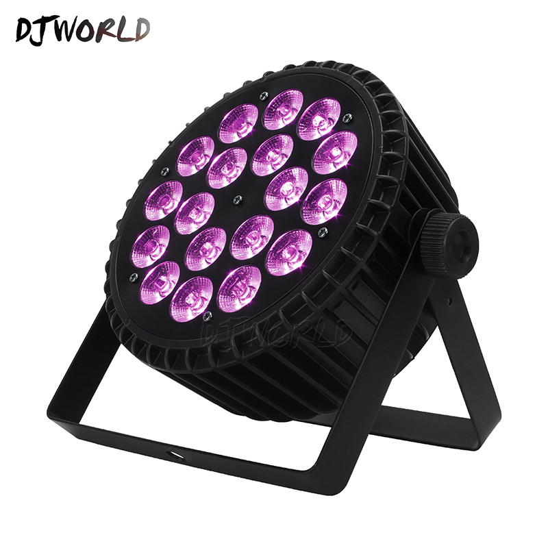 Djworld High Quality Aluminum Alloy LED Flat Par 18x18W 6in1 DJ Par DMX 512 Light DMX For Dj  Disco Party Lighting Stage Light