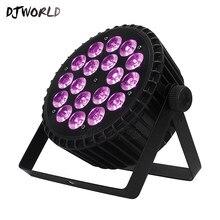Djworld-éclairage de scène plat LED en alliage d'aluminium, éclairage plat 512, Par 18x18W 6 en 1 DMX pour DJ disco
