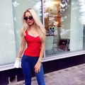 red elastic knitted rayon sexy women's 2017 new arrivals hl spaghetti strap bandage long top
