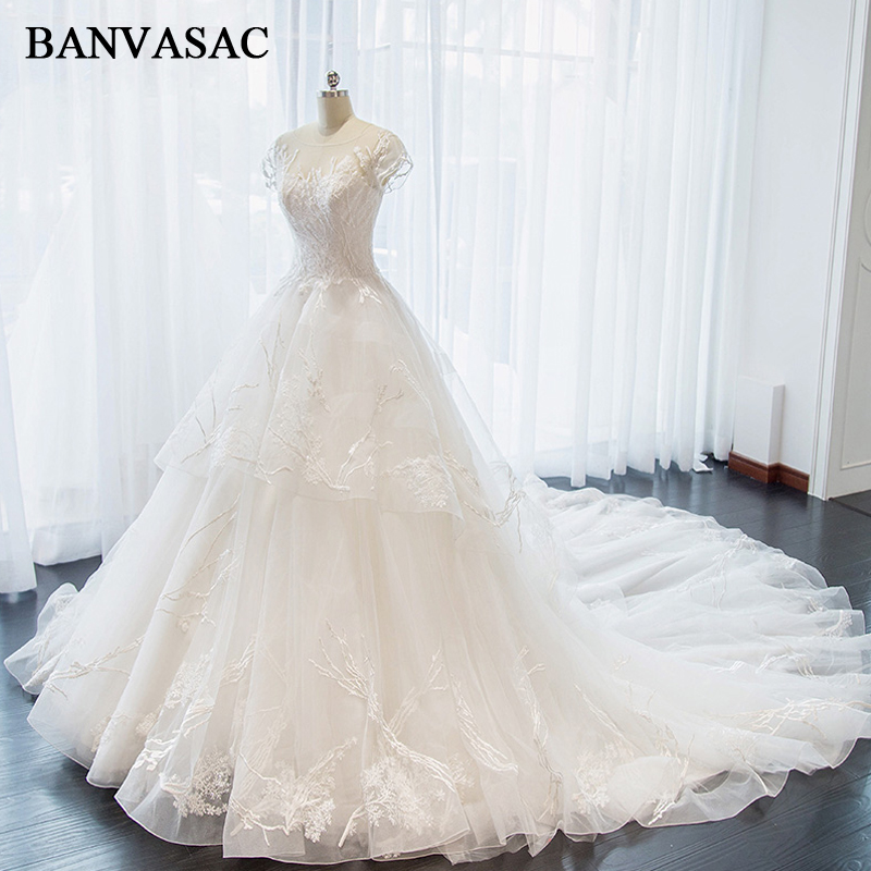 BANVASAC Sheer O Neck 2018 Lace Ball Gown Wedding Dresses Embroidery Appliques Real Photos Cathedral Train Bridal Gowns