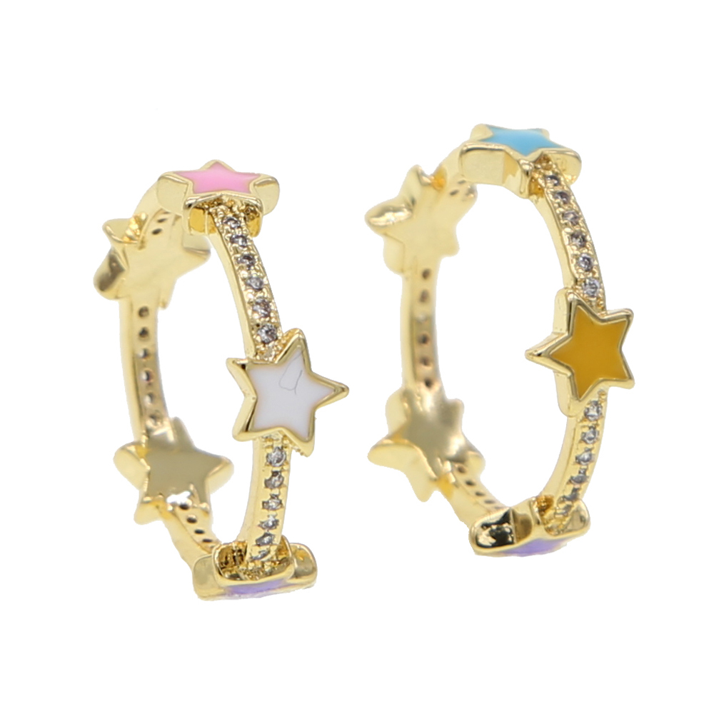 2019 Christmas gift fashion jewelry pastel enamel star cz eternity band ring Gold stacking bands for female(China)