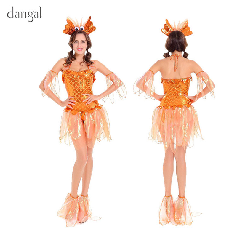 New Dangal Sexy Goldfish Costume for Women Adult Fantasia Mermaid Masquerade Party Halloween Costumes Fancy Dress Clothing 2018