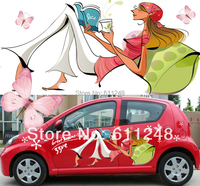 Auto styling Elegante mädchen lesen ein buch  schmetterlinge  blumen 3D auto aufkleber für alle Limousine/Fließheck auto Körper Aufkleber