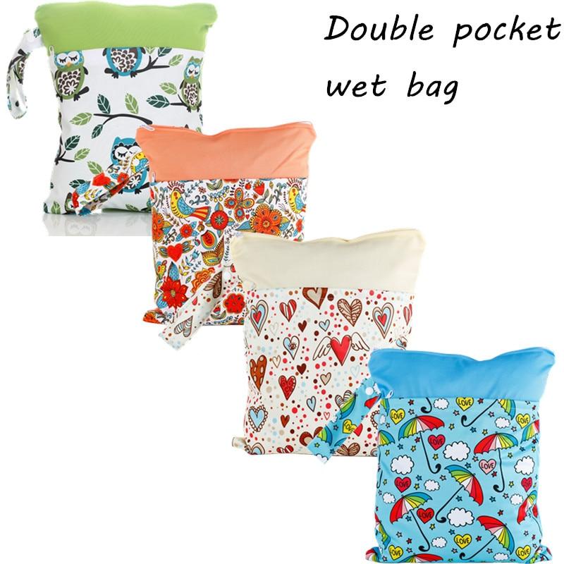 1PC Reusable Waterproof Printed PUL Diaper Wet Bag Double Pocket,Cloth Handle,28x36CM Wholesale Selling