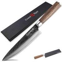 GRANDSHARP 67 Layers Japanese Damascus Steel Damascus Chef Knife 7.5 Inch VG 10 Blade Damascus Kitchen Knife Walnut Handle PRO