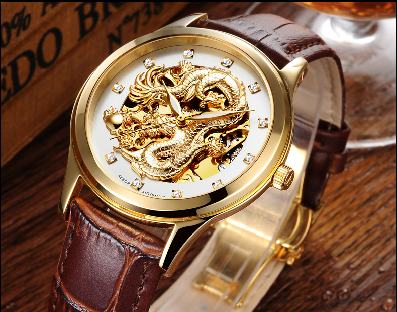 AESOP gold  watch men skeleton Stainless steel Automatic mechanical Sapphire brown leather waterproof  watch relogio masculino 2017 issue automatic watch men parnis 44mm power reserved steel black gold case brown leahter sapphire mechanical men s watches