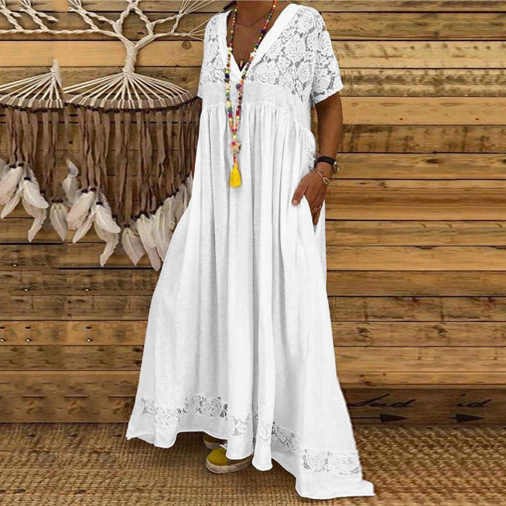 White Summer Dress For Womens Solid Off Shoulder Short Sleeve Lace Beach  Dresses Plus Size 3xl Party Long Maxi Dress Vestidos