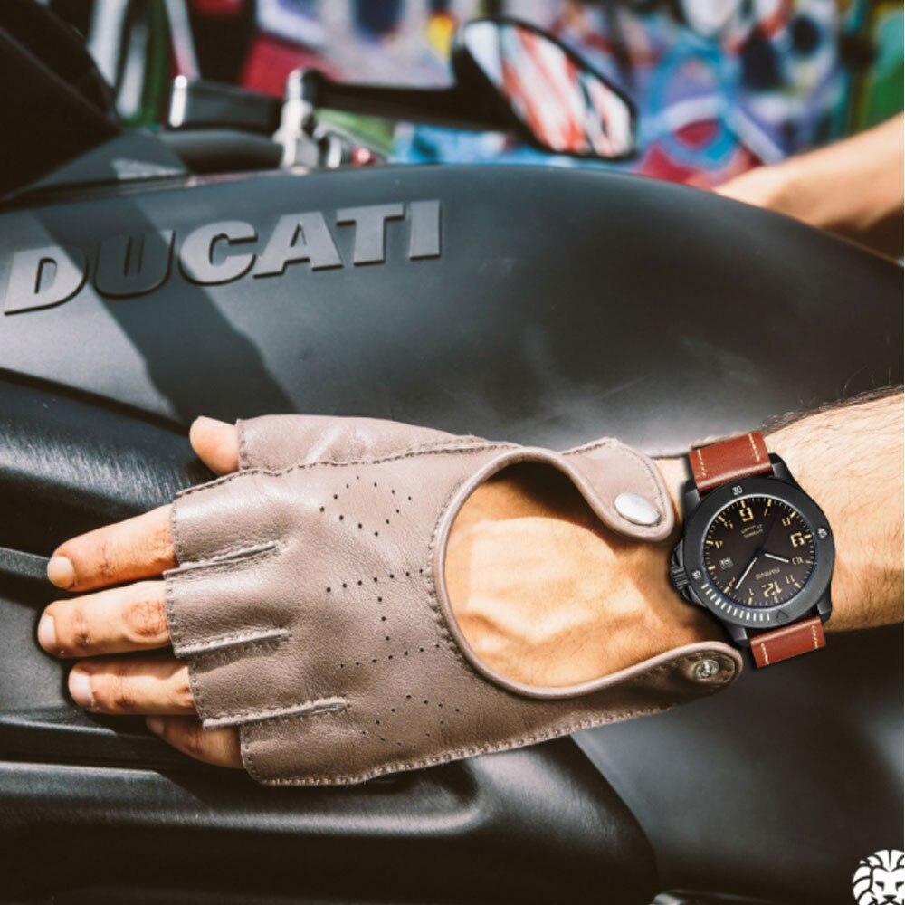 Winner 44mm Parnis cadran noir calendrier Super lumineux marque de luxe verre saphir automatique mécanique montre-bracelet pour hommes Reloj