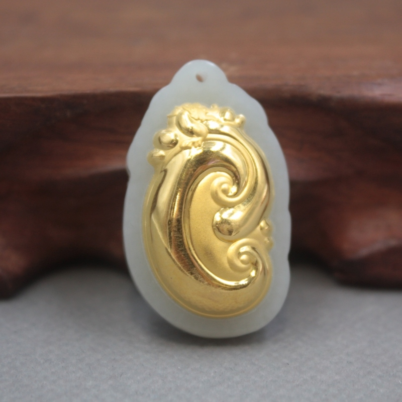 New 24K Yellow Gold Natural Jadeite Jade Women Men Ruyi Bless Pendant 33x21mm
