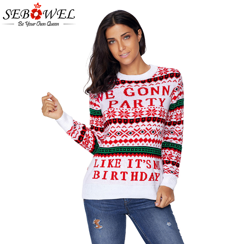 ce62be6e46 SEBOWEL S-XXL Plus size WE GONNA PARTY Ugly Christmas Sweater Women Autumn  Winter Long Sleeve Knitted Tops Pullovers Knitted