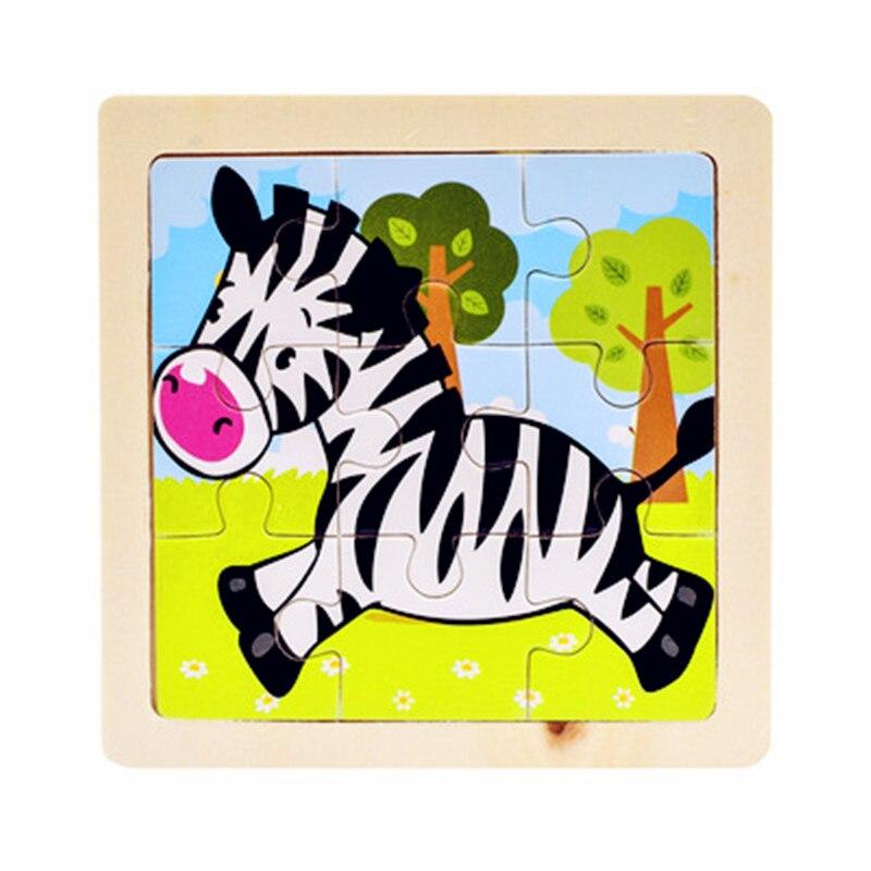 Мини Размер 11*11 см детская игрушка деревянная головоломка деревянная 3D головоломка для детей Детские Мультяшные животные/дорожные Пазлы обучающая игрушка - Цвет: Цвет: желтый