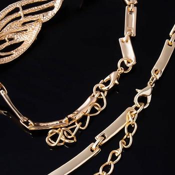 Wavy Rhinestone Gold Jewelry Set 5