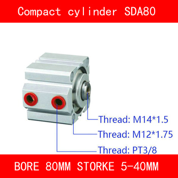 CE ISO SDA20 Cylinder Magnet SDA Series Bore 20mm Stroke 5-50mm Compact Air Cylinders Dual Action Air Pneumatic Cylinder