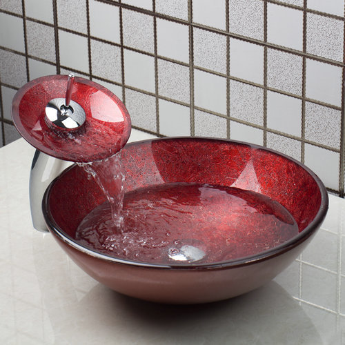 Red Bathroom Sink Washbasin Glass Hand-Painted +Waterfall Basin Tap 4283-1  Lavatory