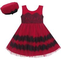 Girls Dress Princess Worsted Winter Christmas Hat Lace Red 4 10