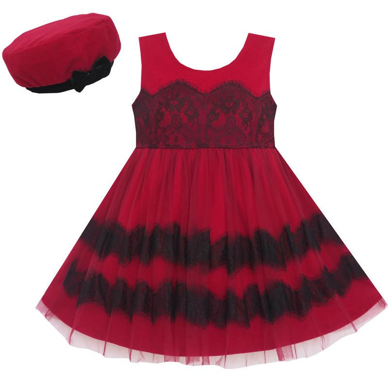 Sunny Fashion Girls Dress Princess Worsted Winter Christmas Hat Lace Red 2018 Summer Wedding Party Dresses Clothes Size 4-10 sunny fashion girls dress princess worsted winter christmas hat lace red 2018 summer wedding party dresses clothes size 4 10