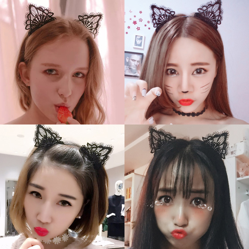 1pcs Fashion Black Lace Cat Ears Headwear Party Hat Toys Birthday Party Photography Cartoon Style Toys Head Accessories Gift