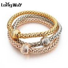 Многослойный браслет longway для женщин серебристый золотой