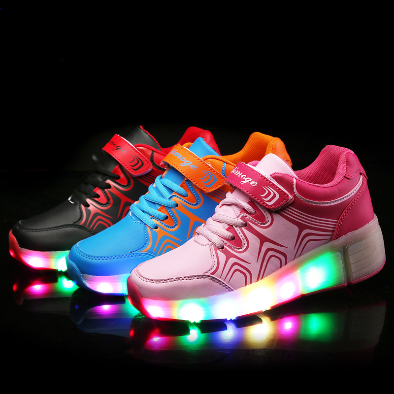 f8c994aee70680 Size 27-43 Children Heelys Shoes with Led Lights Kids Roller Shoes With  Wheels Wear-resistant for Boys Girl Sneakers Zapatillas