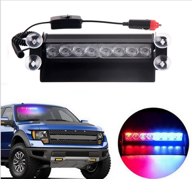 Blue Red 8 LED Car Emergency Warning Dashboard Dash Visor Police Strobe Lights Lamp 8LED White Amber Yellow Green Flash 4pcs positive earth blue ba7s led dashboard gauge warning switch bulb 12v red white green amber glb281
