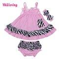 Bebê menina vestuário de algodão da listra da zebra ruffles dress parte superior do balanço O conjunto Inclui Top & Bottoms Alta Qualidade Para O bebê Recém-nascido 2017