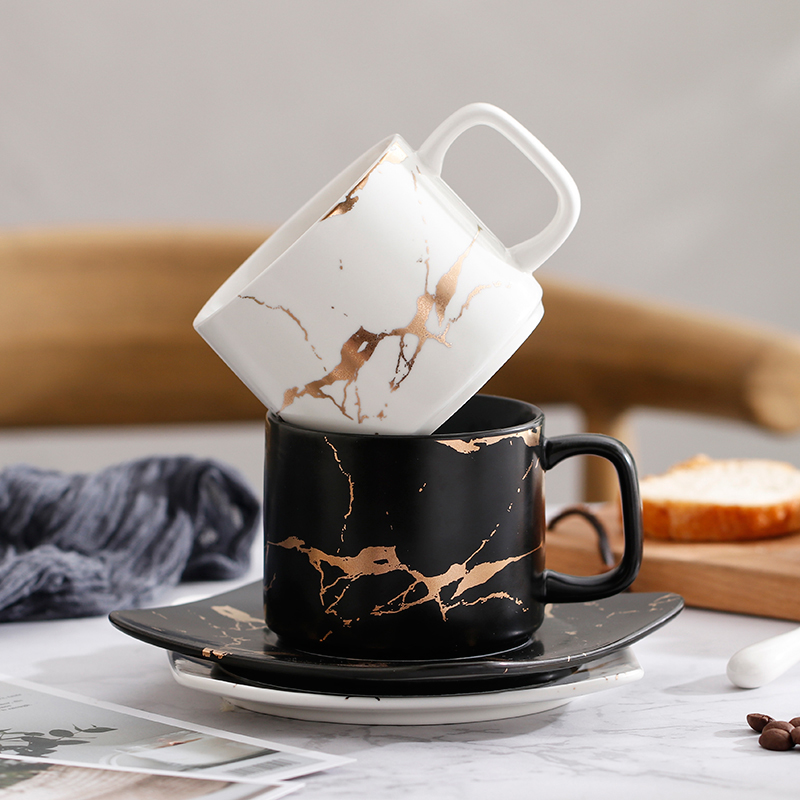 Marbre or motif européen petite tasse à café de luxe ensemble britannique après-midi thé tasse café latte cappuccino tasse avec cuillère soucoupe
