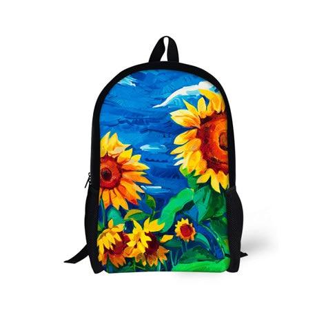 Sunflower Backpack Book bag for High School Teenager Girls,Flower Prints Travel Mochilas Bagpack for Women Shoulder Bag Female