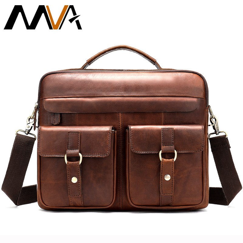 Male Briefcase Men's Genuine Leather Laptop Messenger Bag For Men Vintage Lawyer Briefcases Leather Shoulder Tote Work Bag  8001