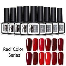 LEMOOC 8ML Red Color Series Nail Gel Polish Long Lasting Soak Off UV Led Gel Nail Varnish  For Nail Art Extension Design