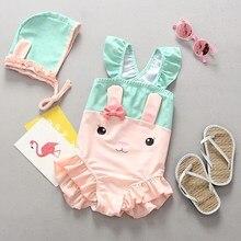 0354d3d7de1b0 Children Swimsuits Girls Ruffles Bunny Rabbit Ear Polka Dot Baby Toddler Girl's  Swimwear One Piece Sleeveless Bodysuit Swim Wear