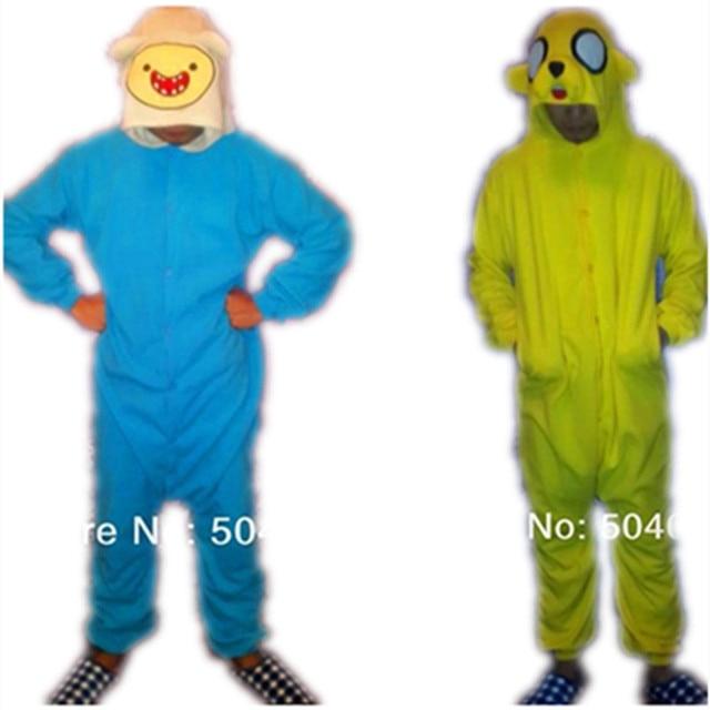 59805f7def28 Adventure go Finn Jake Onesies Pajamas Cartoon Anime Animals Yellow dog  Cosplay Costume unisex Adult Sleepwear Onesie jumpsuit