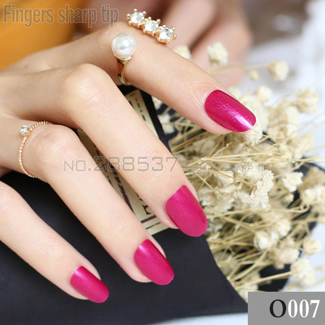 24pcs new product sales long rose red oval head fake nail fit ...
