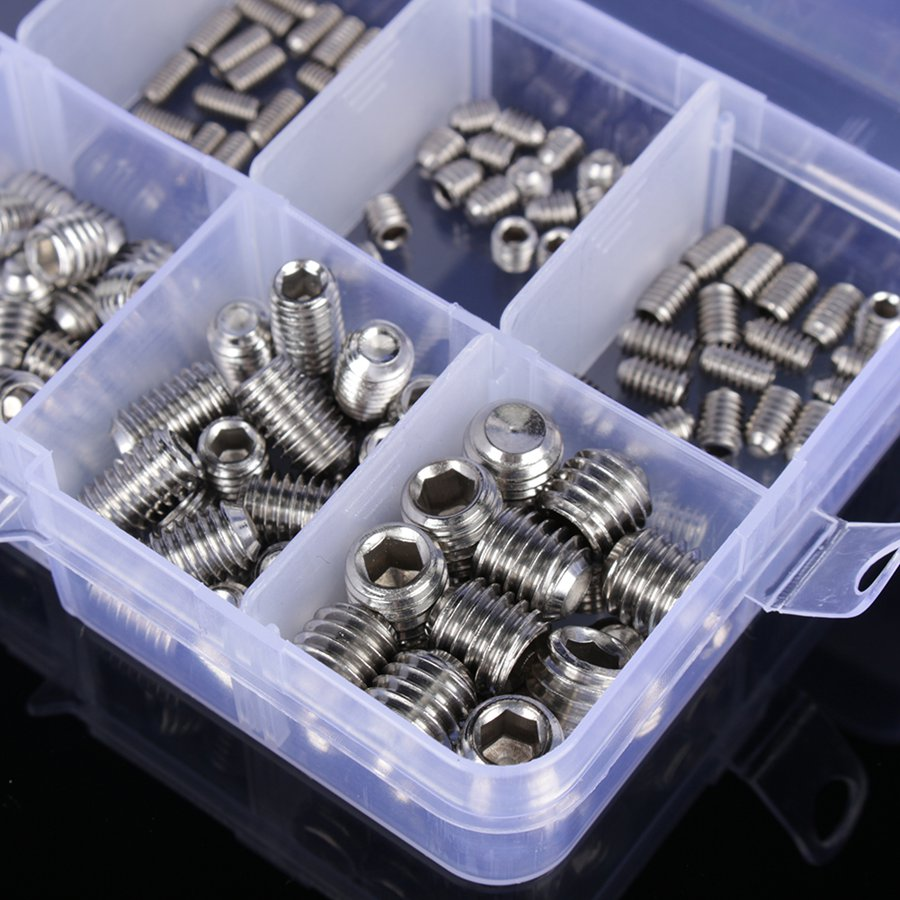200pcs/<font><b>set</b></font> Stainless Steel Allen Head <font><b>Socket</b></font> Hex <font><b>Set</b></font> Grub <font><b>Screw</b></font> Assortment <font><b>Cup</b></font> Point