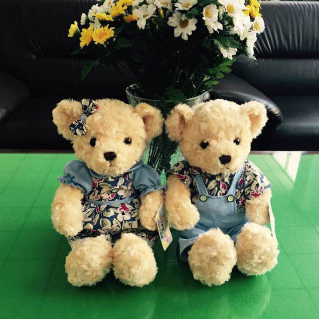 2PCS Valentine Teddy Bear Plush Toys Stuffed Couple Bears Soft Dolls Toy  For Children Girls Gifts