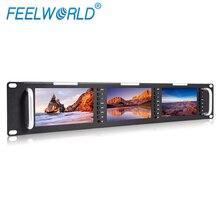 Feelworld T51 Triplo 5 Polegada 2RU Rack De Montagem LCD Monitor com 3G-SDI HDMI AV de Entrada e Saída de Nível de Transmissão de Qualidade monitores