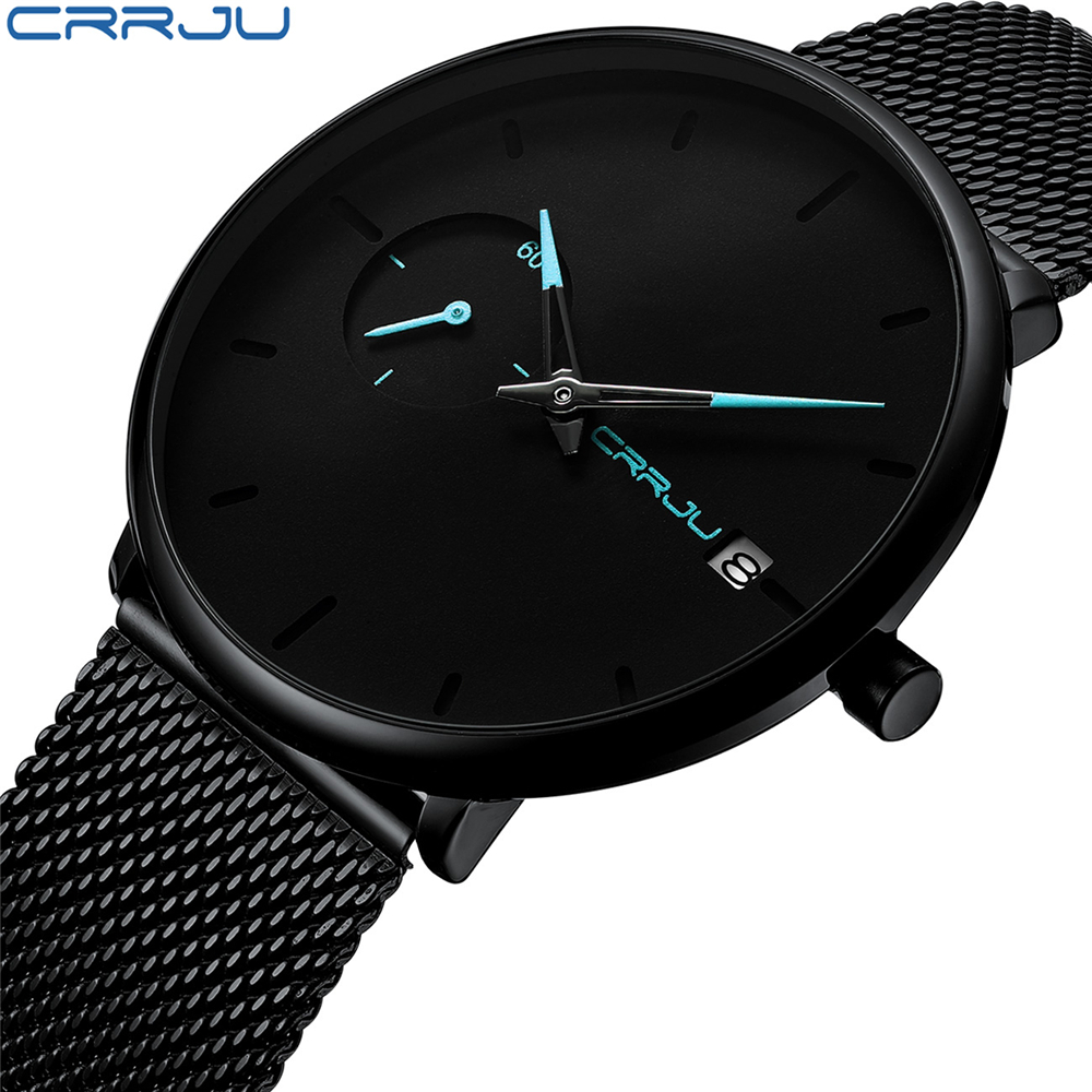 Elegant Mens Watch with Comfortable Stainless Steel Mesh Strap CRRJU New Business Date Quartz Wrist Watch Mens Clock as GiftElegant Mens Watch with Comfortable Stainless Steel Mesh Strap CRRJU New Business Date Quartz Wrist Watch Mens Clock as Gift