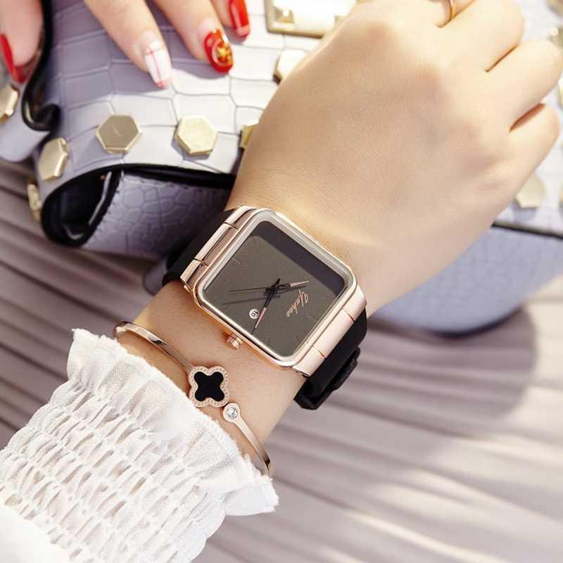 2019 מותג נשים שעונים נשים סיליקון כיכר reloj mujer יוקרה שמלת שעון גבירותיי קוורץ עלה זהב שעון יד Montre Femme