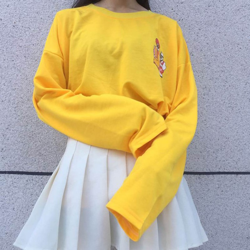 Yellow Casual Clown Printed Pullovers Long Sleeve Cotton Hoodies Female Harajuku Top Clothing 2017 New Design