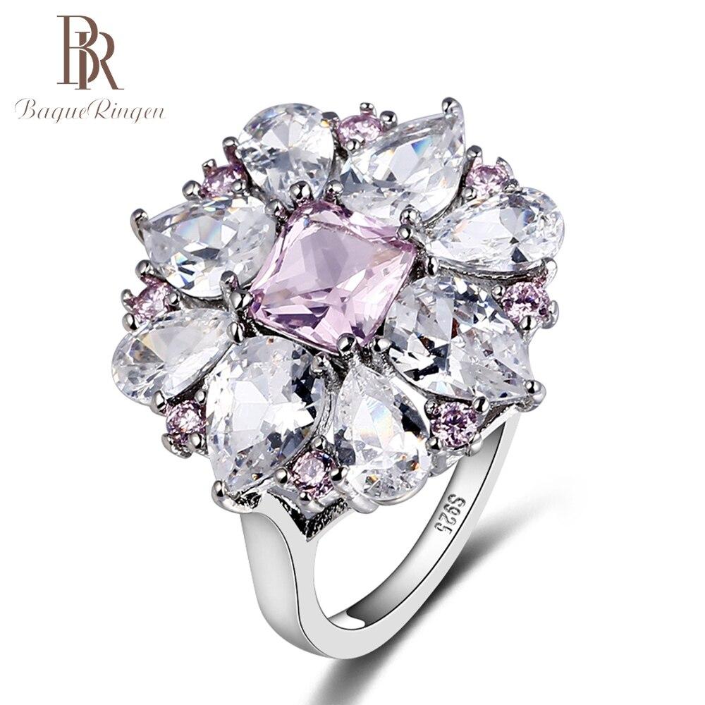 Bague Ringen New Design Flower Shape 925 Sterling Silver Jewelry Rings For Women Luxury Wedding Engagement Spinel Gemstone Ring