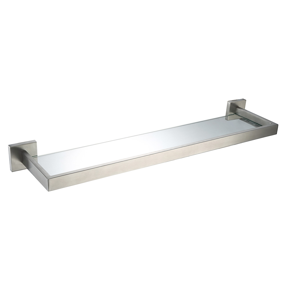 Modern bathroom hardware - Auswind Modern Silver Brushed Bathroom Shelf With Glass Stainless Steel Wall Mounted Bathroom Hardware Sets Rf0