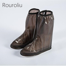 Rouroliu Unisex Reusable Non-Slip Waterproof High-Top Protector Shoes Boot Cover Autumn Winter Rain Shoes Cases Overshoes RB169