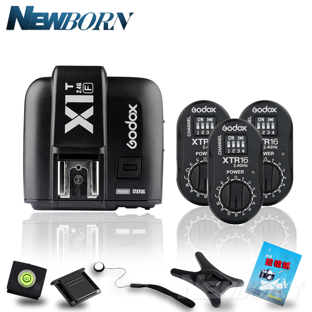 Godox 3x XTR-16 Wireless 2.4G Power Control Flash + X1T-F TTL Wireless for Fujifilm Camera Godox AD180 AD360 AD360II Flash godox x1t s ttl hss 2 4g flash transmitter 2 xtr 16 usb receiver kit for sony camera godox ad180 ad360 ad360ii