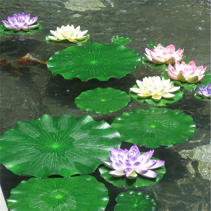 Artificial EVA Lotus Leaf Floating Pool Decorative Aquarium Fish Pond Scenery Home Gardon Decoration ...
