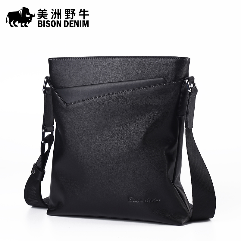 ФОТО Brand BISON DENIM Handbag Men Genuine Leather Shoulder Bags Business Travel Cowhide Crossbody Bag Tote Bag Men's Messenger Bag