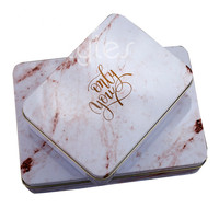 Cocostyles bespoke blank stunning iron box with marble printing and gold foiling logo for wedding gift favor box