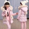Новые зимние детей девочек одежда устанавливает хлопок проложенный пуховик с капюшоном сгущает теплый девушка верхняя одежда пальто дети вниз и парки