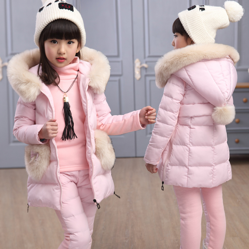 New Winter Children Girls Clothing Sets Cotton Padded Down Jacket Hooded Thicken Warm Girl Outerwear Coat Kids Down&Parkas russia 2016 children outerwear baby girl winter wadded jacket girl warm thickening parkas kids fashion cotton padded coat jacket